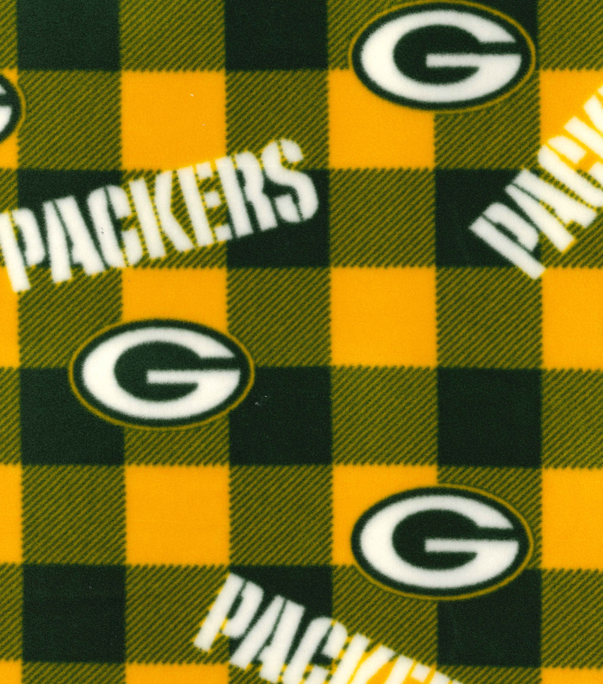 Green Bay Packers Fleece Fabric -Buffalo Plaid