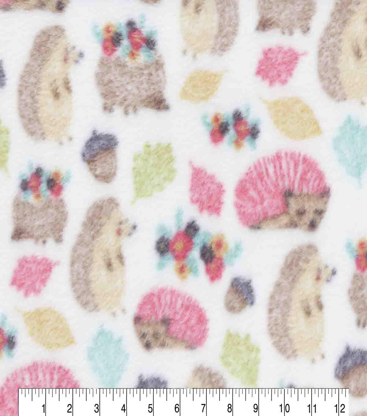 Anti-Pill Fleece Fabric-Sketched Hedgehogs
