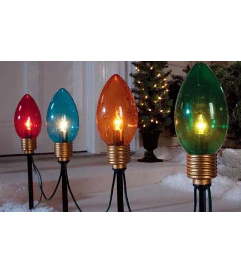 Maker S Holiday Christmas 4 Pk Jumbo Bulb Pathway Lights
