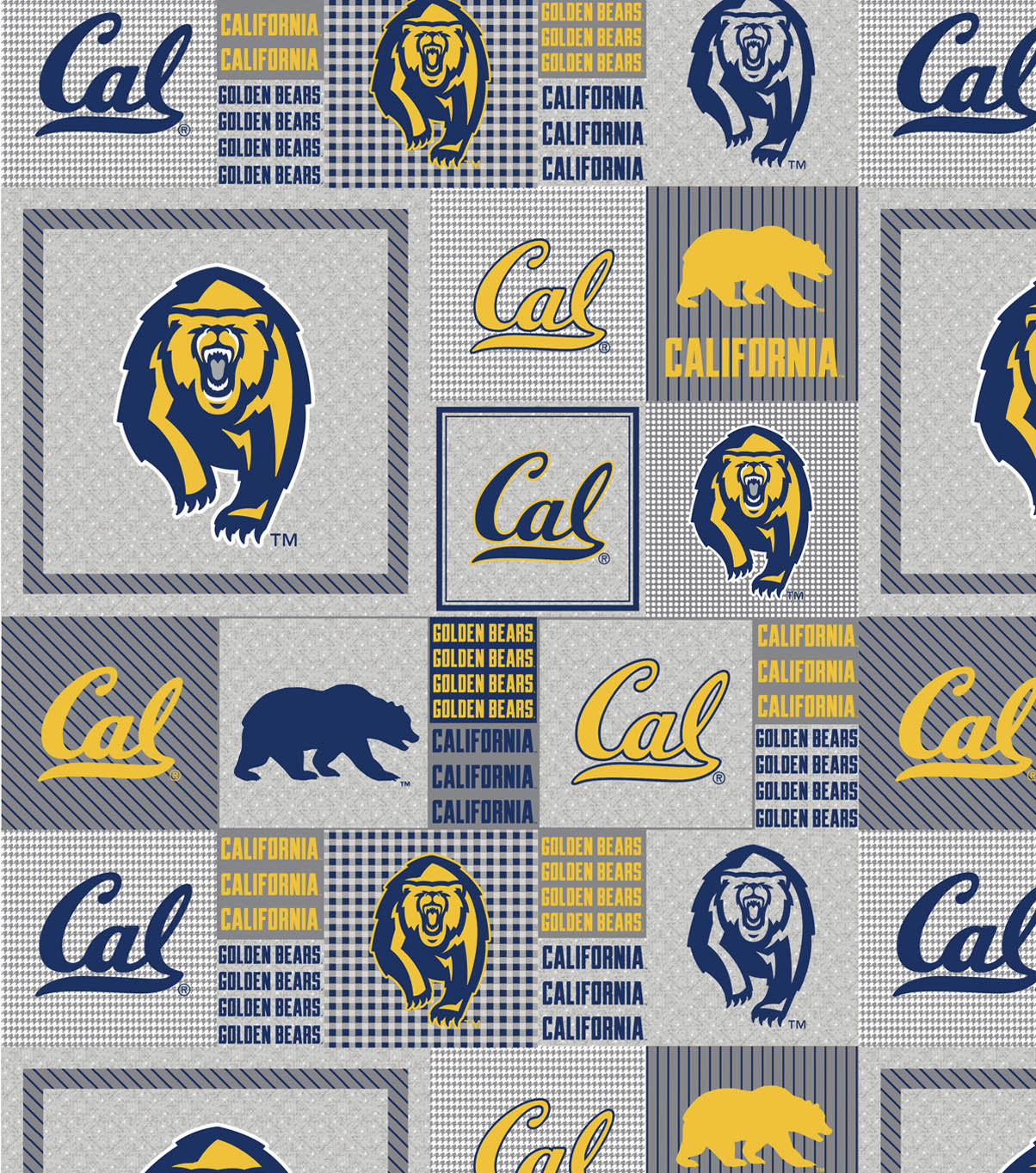 University of California, Berkeley Fleece Fabric -Gray Block