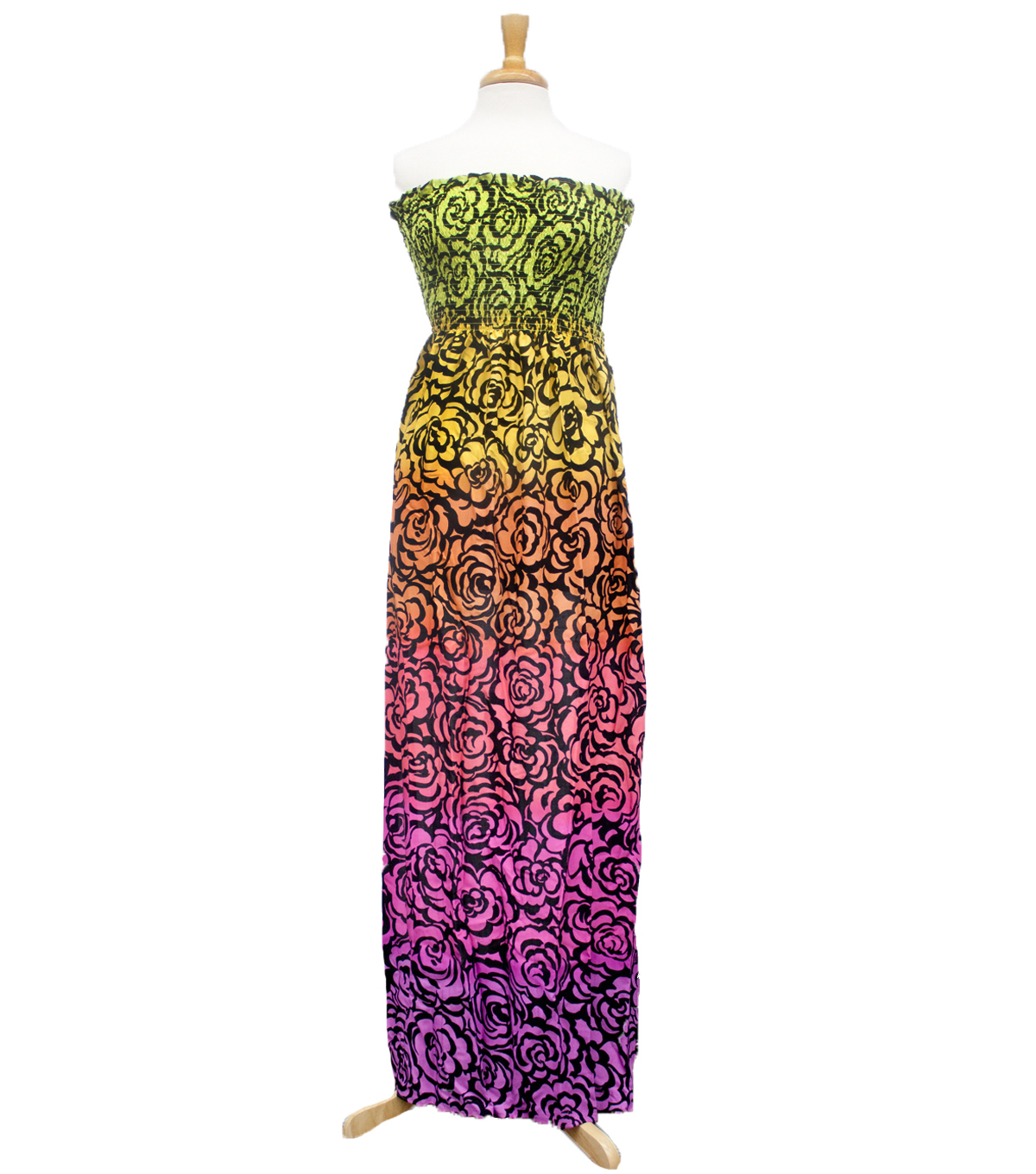 Style In An Instant 53\u0022 Shirred Dress Outline Floral Multi