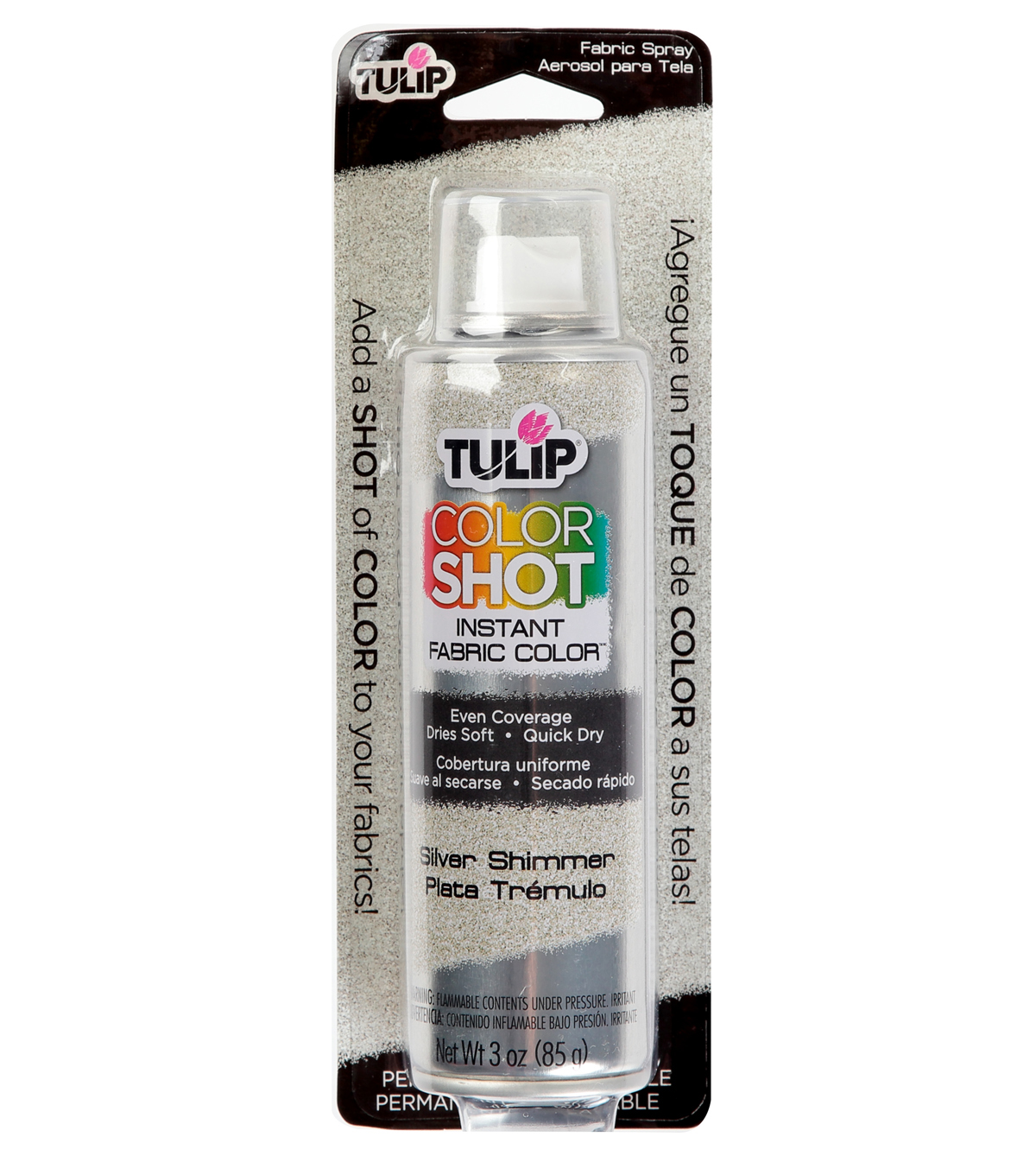 Tulip ColorShot Instant Fabric Color Spray 3oz, Silver Metallic