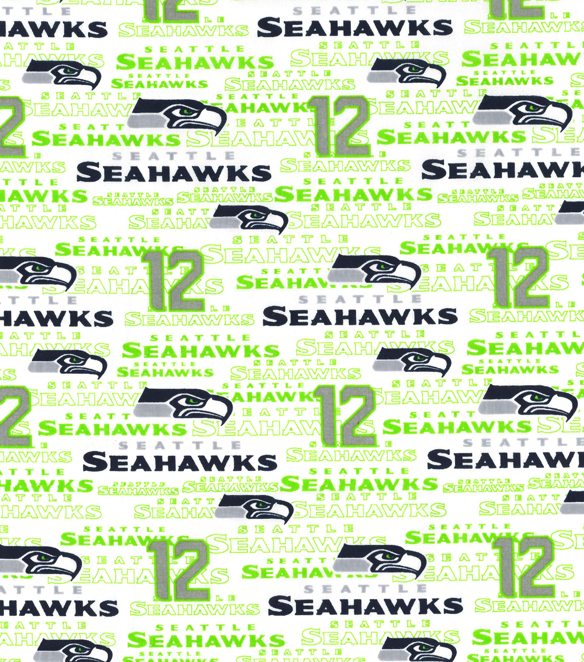 Seattle Seahawks Cotton Fabric -White
