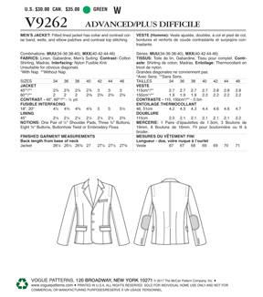 Vogue Pattern V9262 Men\u0027s Lined Jacket with Top Stitching-Size 40-46