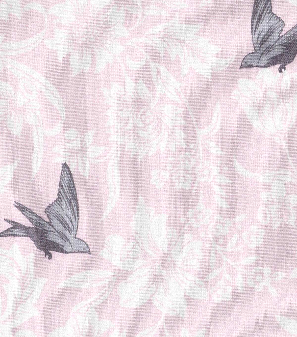Home Essentials Print Fabric 45\u0022 Pink Floral Bird