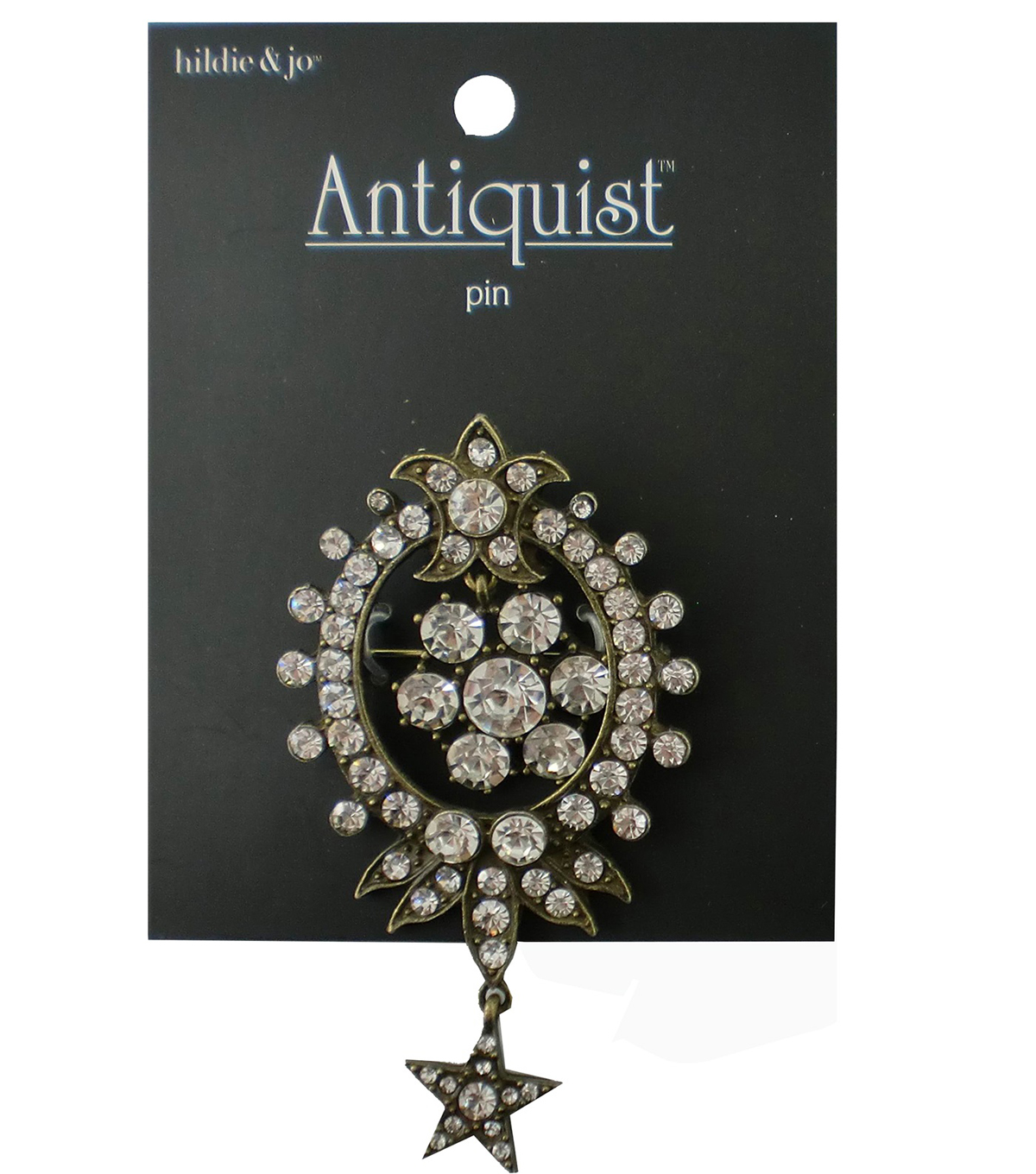 hildie & jo Antiquist Fleur di Lis Antique Gold Brooch-Crystals