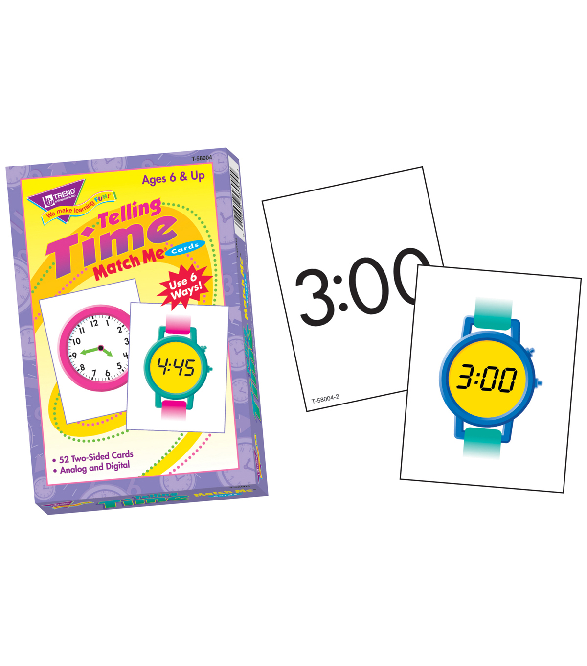 TREND enterprises, Inc. Telling Time Match Me Cards, 6 Sets