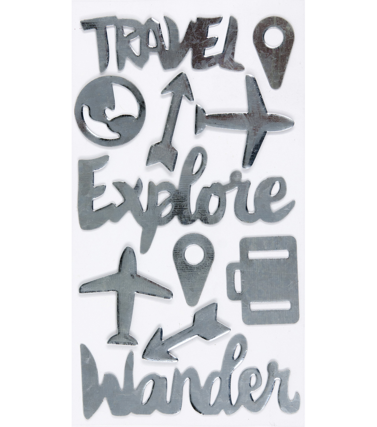 Jolee's Boutique Metal Stickers-Travel Words & Icons