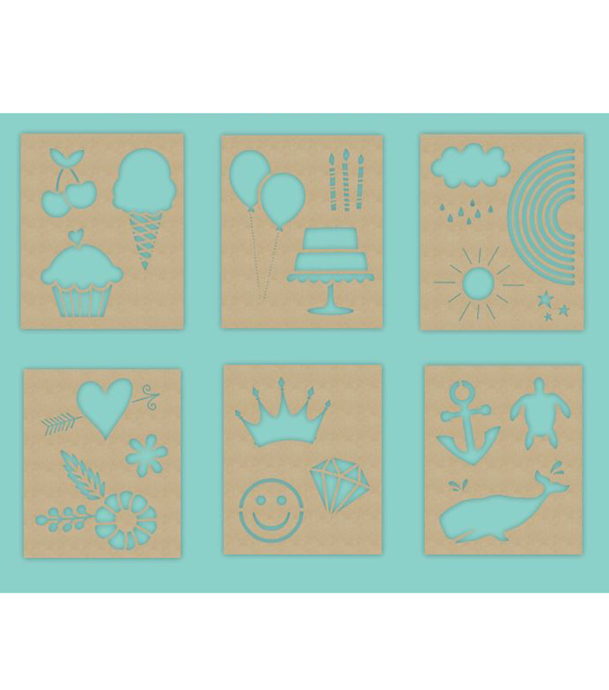 Hampton Art 7X9 Stencils-Cute Icons