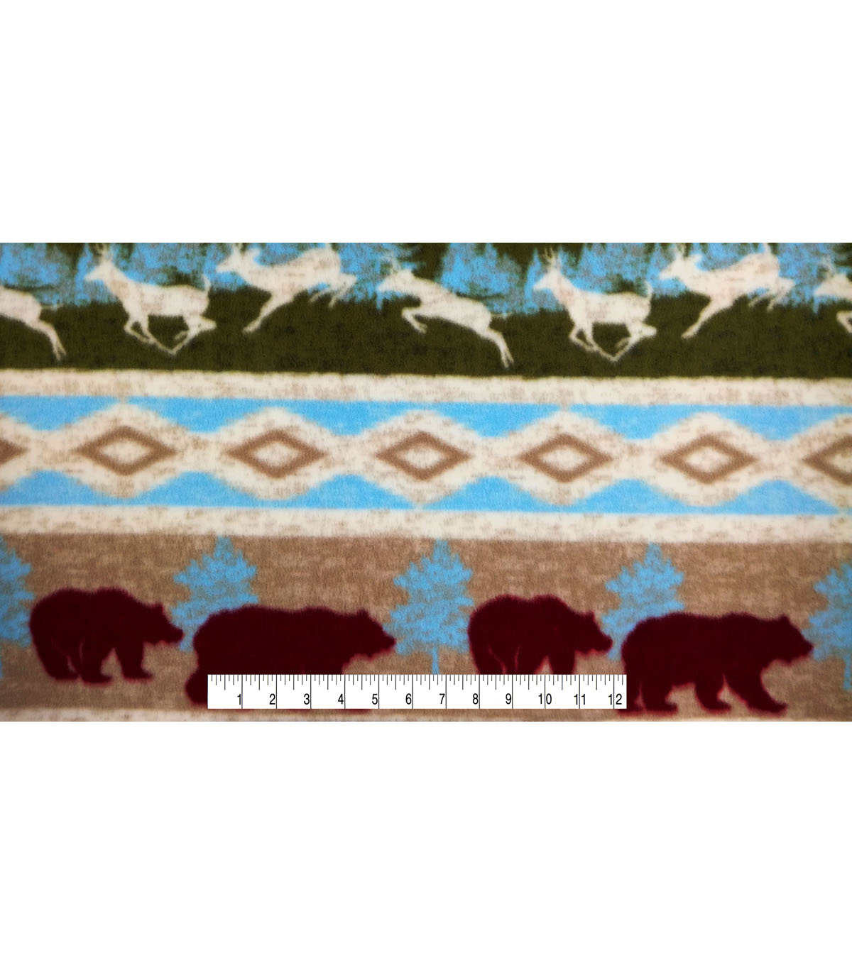 Anti-Pill Fleece Fabric -Bear & Deer Stripe