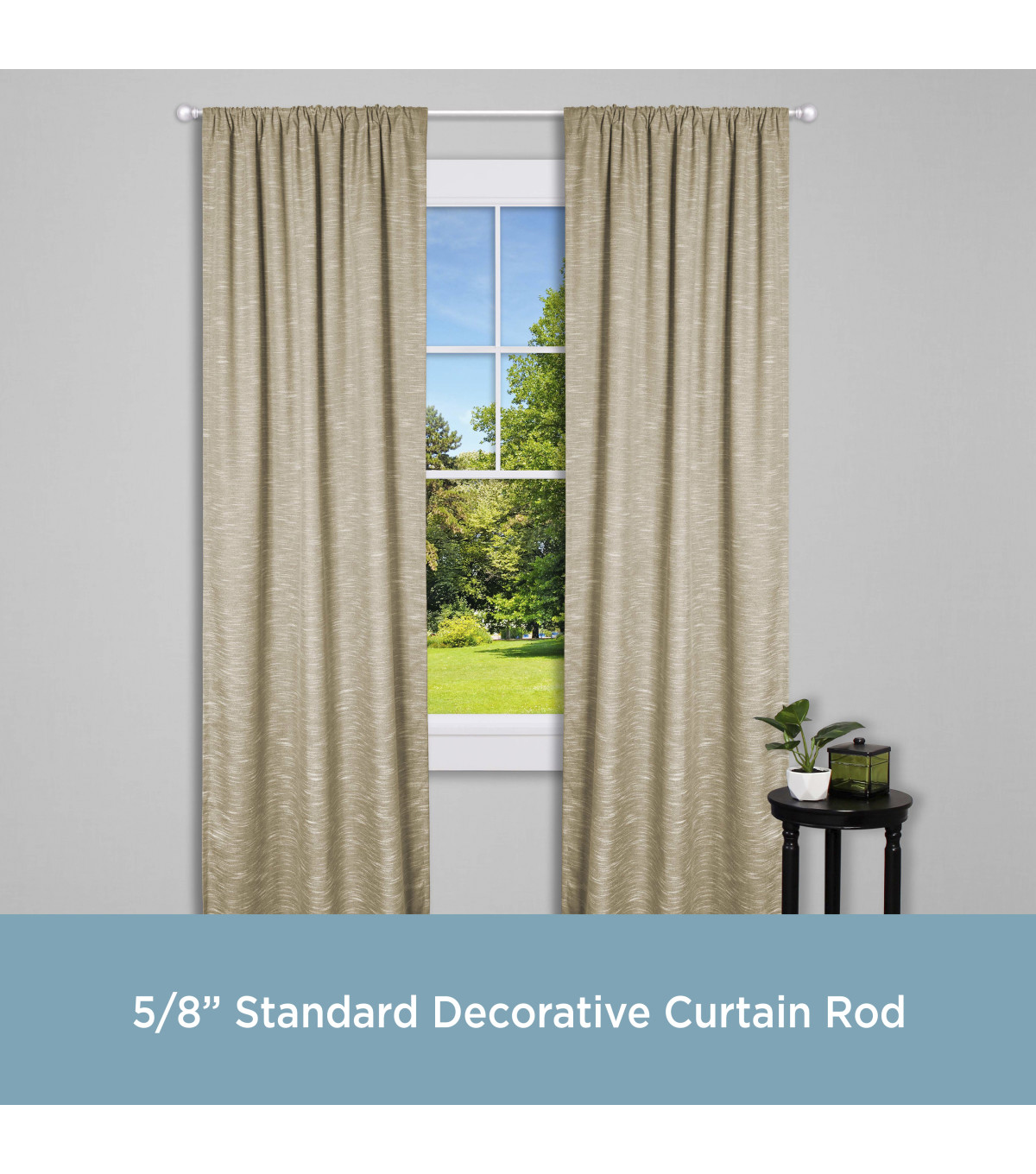 Chelsea Standard Decorative Window Curtain Rod-Champagne Silver 28\u0022-48\u0022