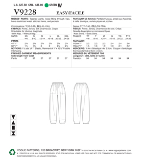 Vogue Pattern V9228 Misses\u0027 Pull-On Pants with Front Pockets-Size 4-14