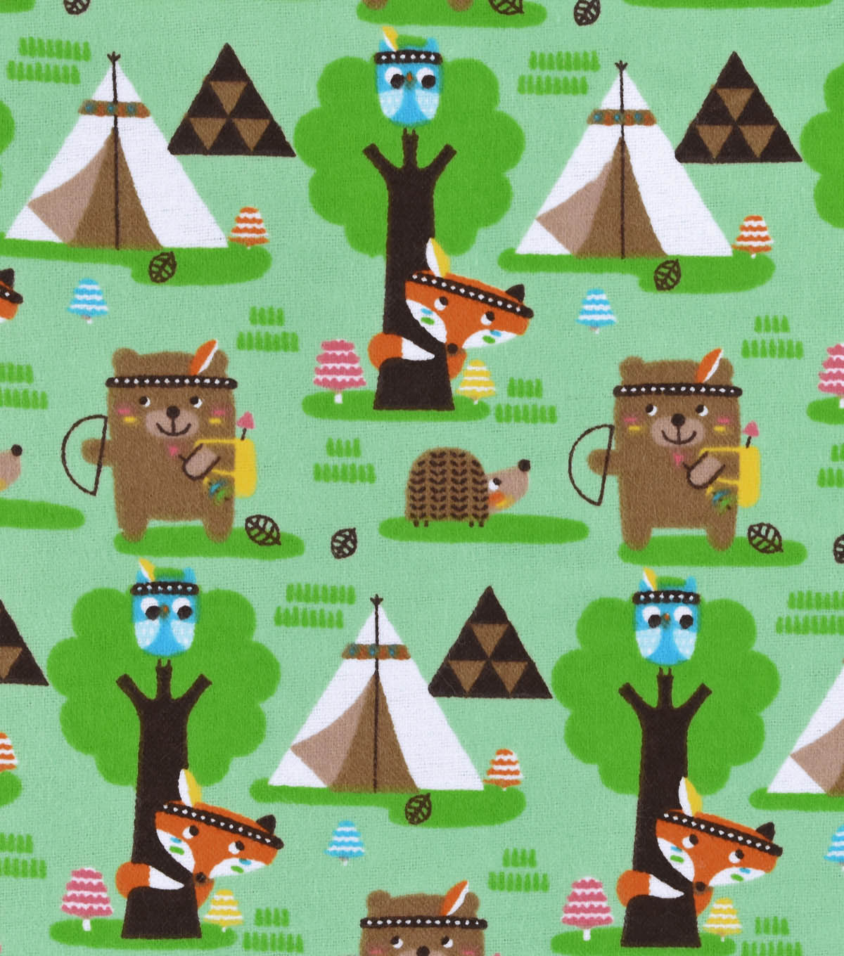 Snuggle Flannel Fabric -Forest Creature Tribe