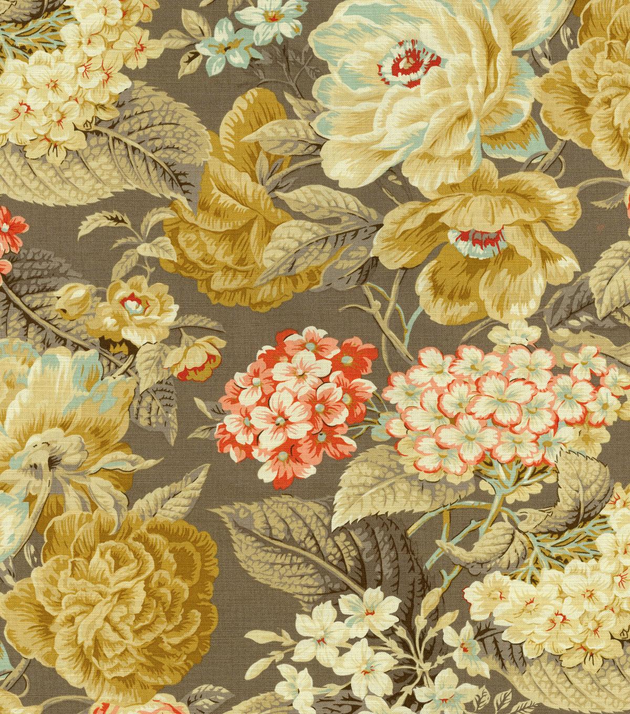Home Decor Fabrics Online: Home Decor Print Fabric- Waverly Floral Flourish Clay