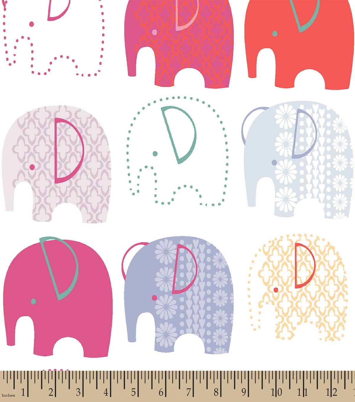 Pink Elephants Print Fabric