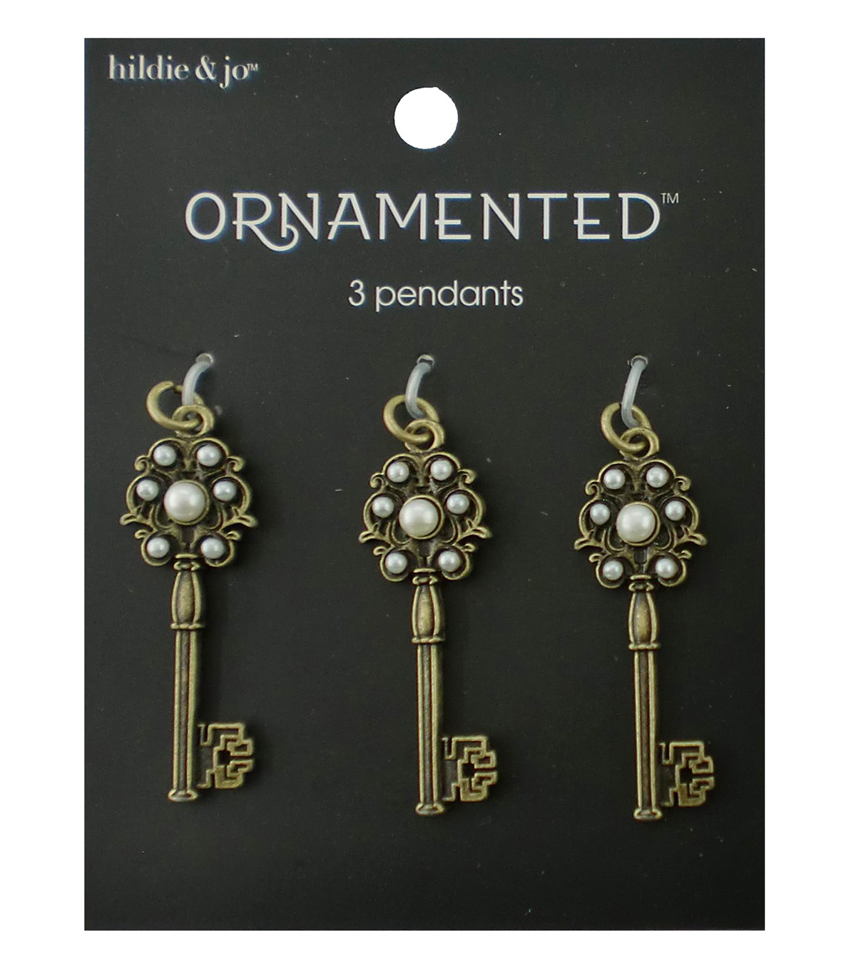 hildie & jo Ornamented 3 Pack Key Antique Gold Pendants-Pearls