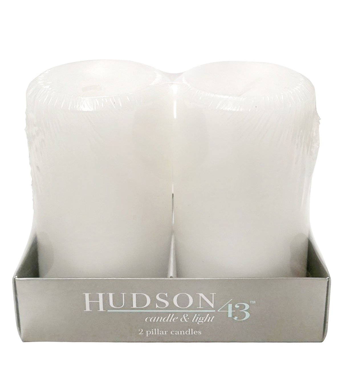 Hudson 43 2 pk 3\u0027\u0027x5\u0027\u0027 Linen Scented Smooth Pillar Candles-White