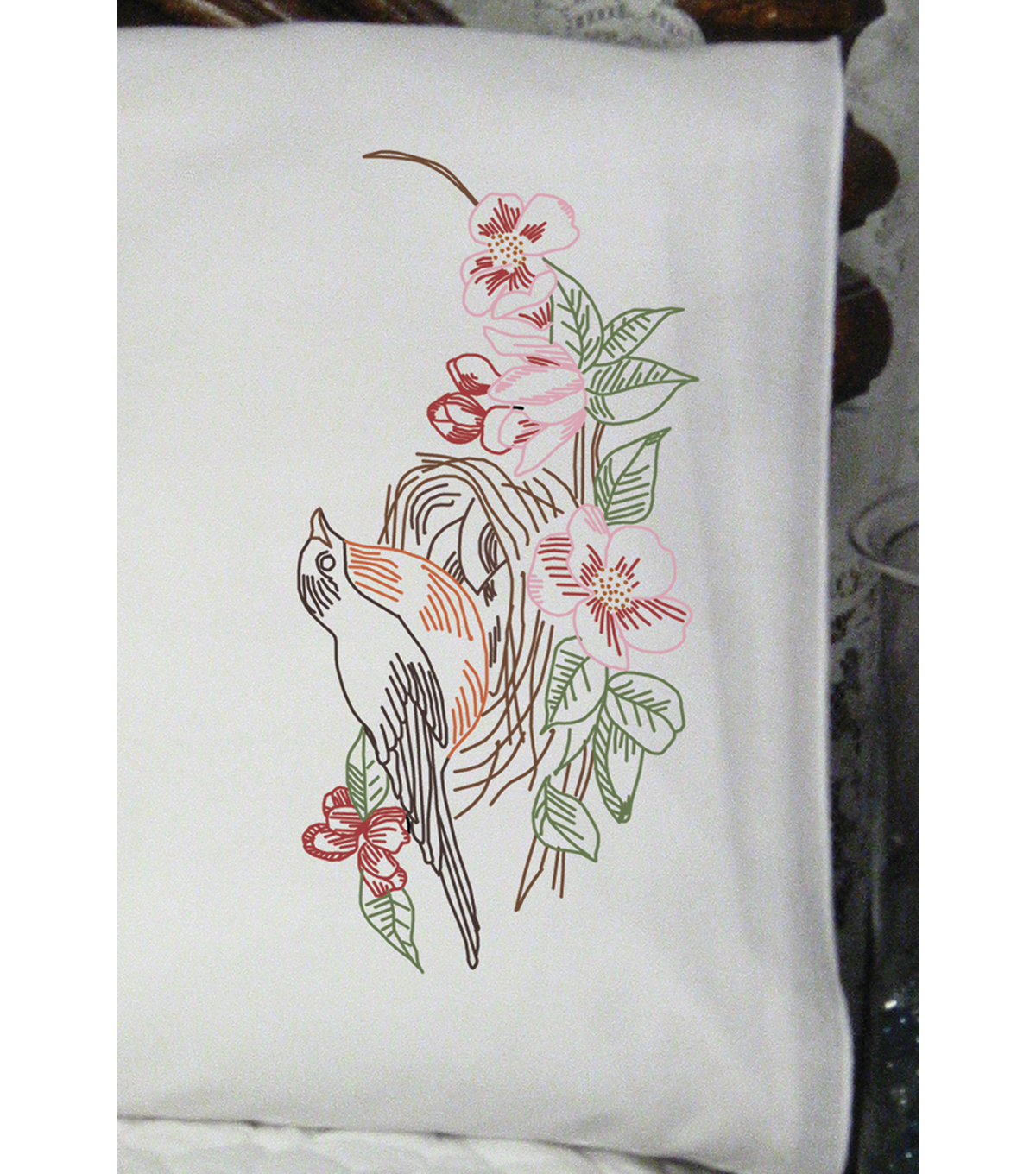 Fairway Stamped Perle Edge Pillowcase Robin Nest