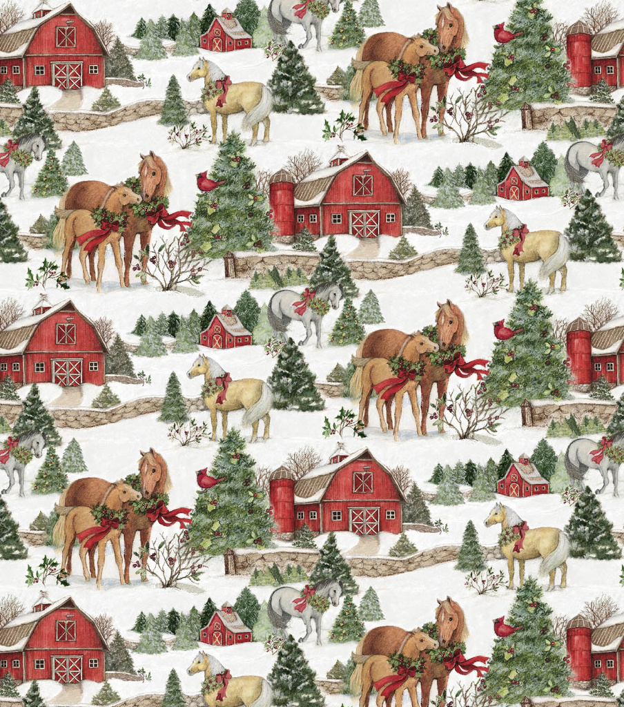 christmas cotton fabric scenic horses