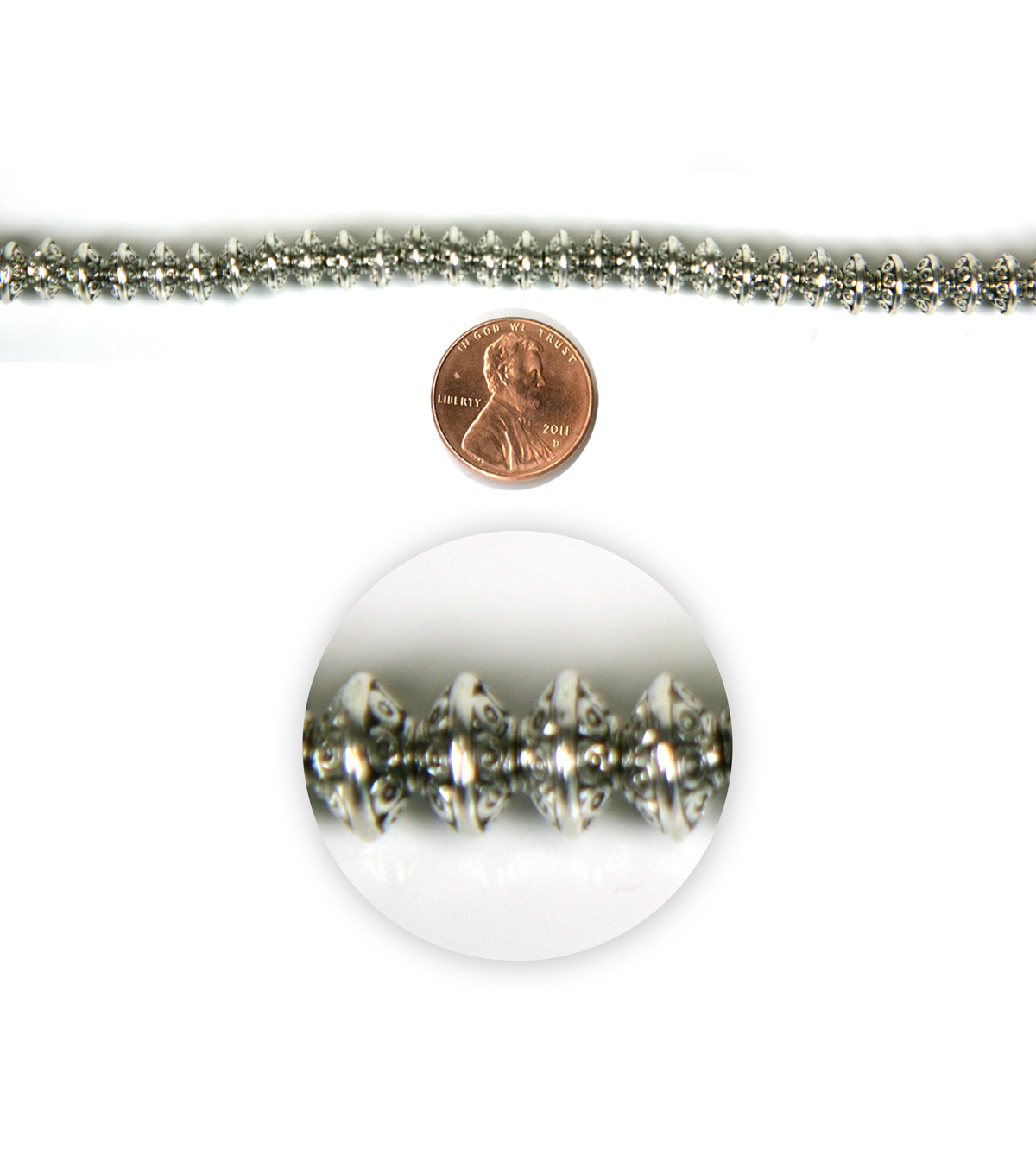 Blue Moon Strung Metal Spacer Beads,Rondelle,Antique Silver,Dots