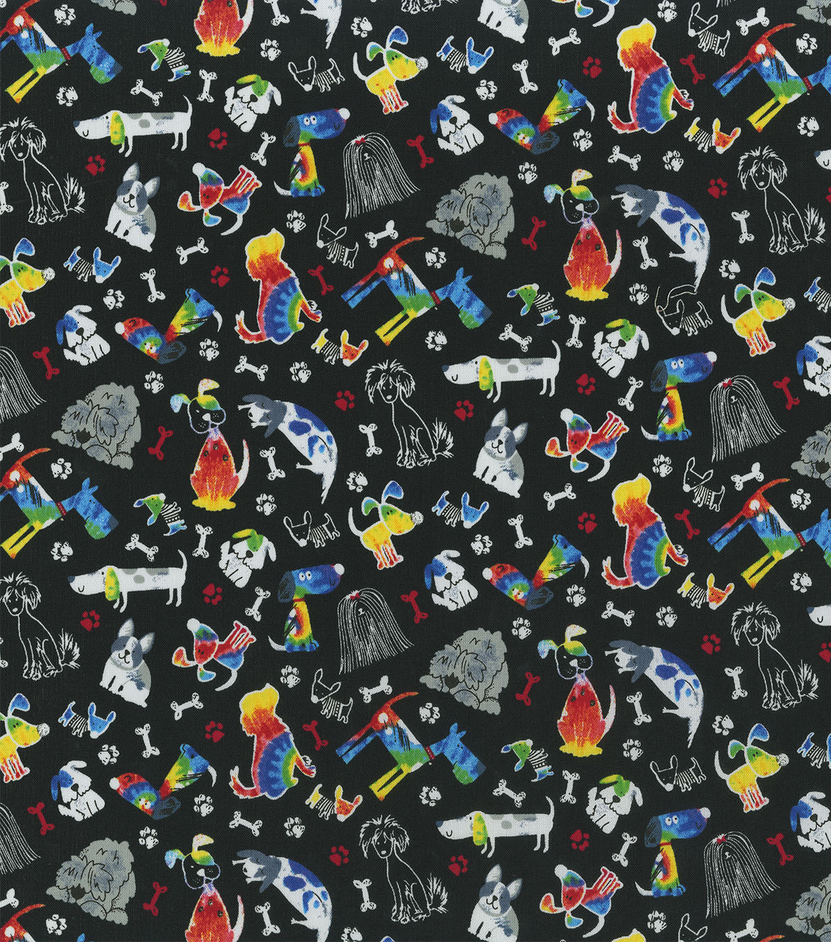 Novelty Cotton Fabric -Tie Dye Pups On Black