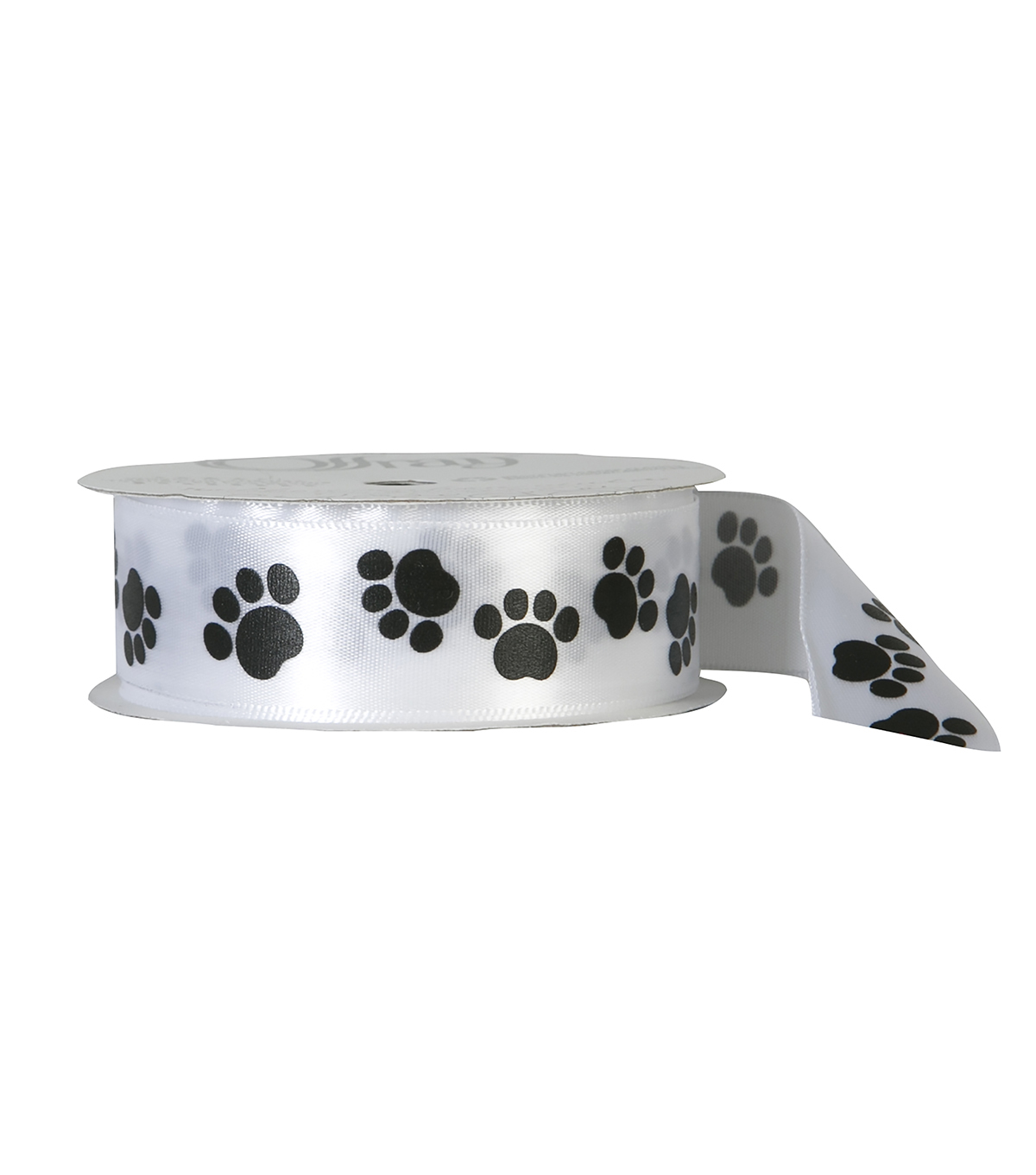 Offray 7/8\u0022x9\u0027 Paw Animal Print Single Faced Satin Ribbon-White and Black