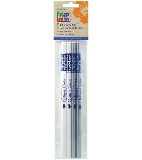 Roxanne Quilter\u0027s Choice Marking Pencils 4/pkg-2ea White & Silver