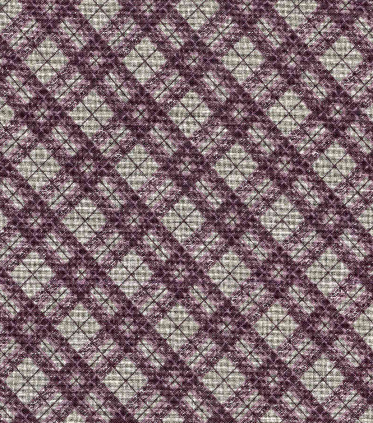 Vintage Cotton Fabric 43\u0022-Box Plaid Purple