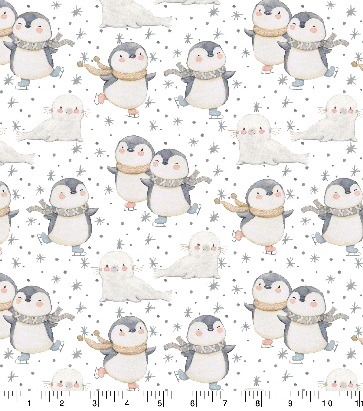 Snuggle Flannel Fabric 42\u0022-Skating Penguins & Seals