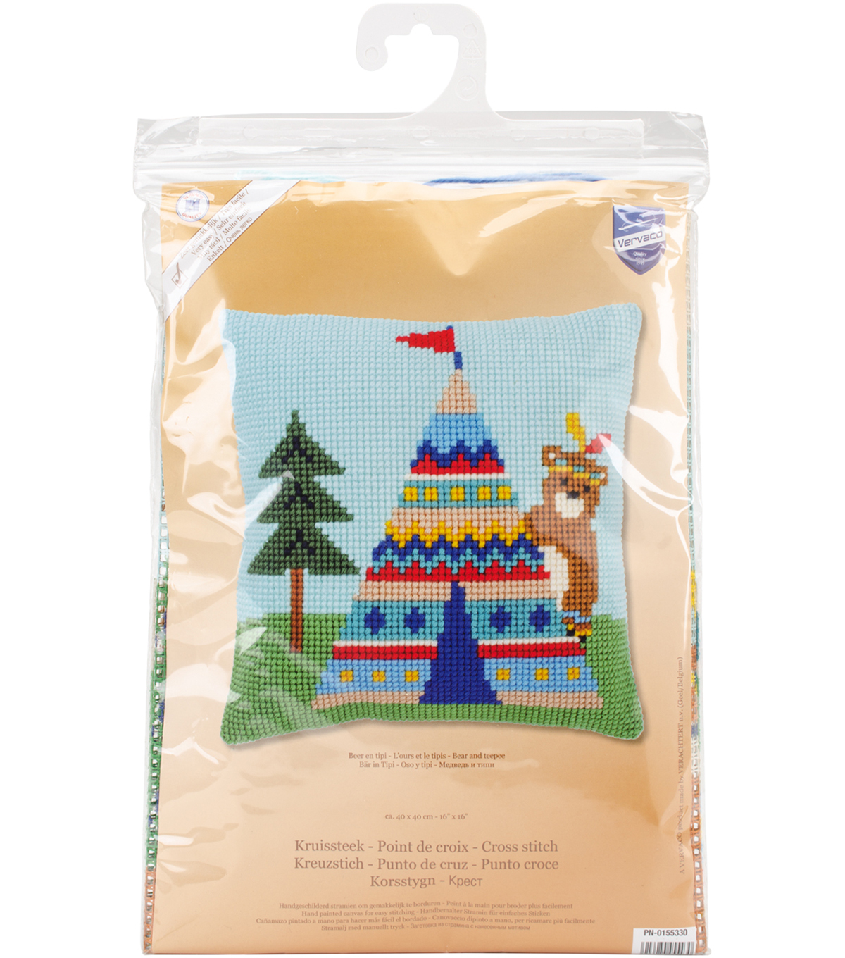Vervaco 16\u0027\u0027x16\u0027\u0027 Cushion Cross Stitch Kit-Bear & Teepee