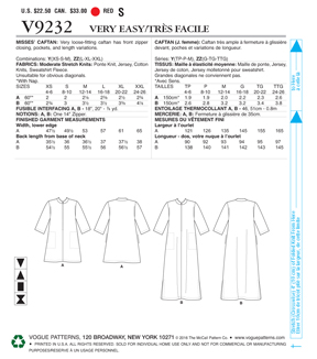Vogue Pattern V9232 Misses\u0027 Zip-Front Caftans with Pockets-Size 16-26