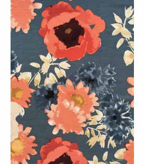 Knit Fabric 57\u0027\u0027-Gray & Orange Floral