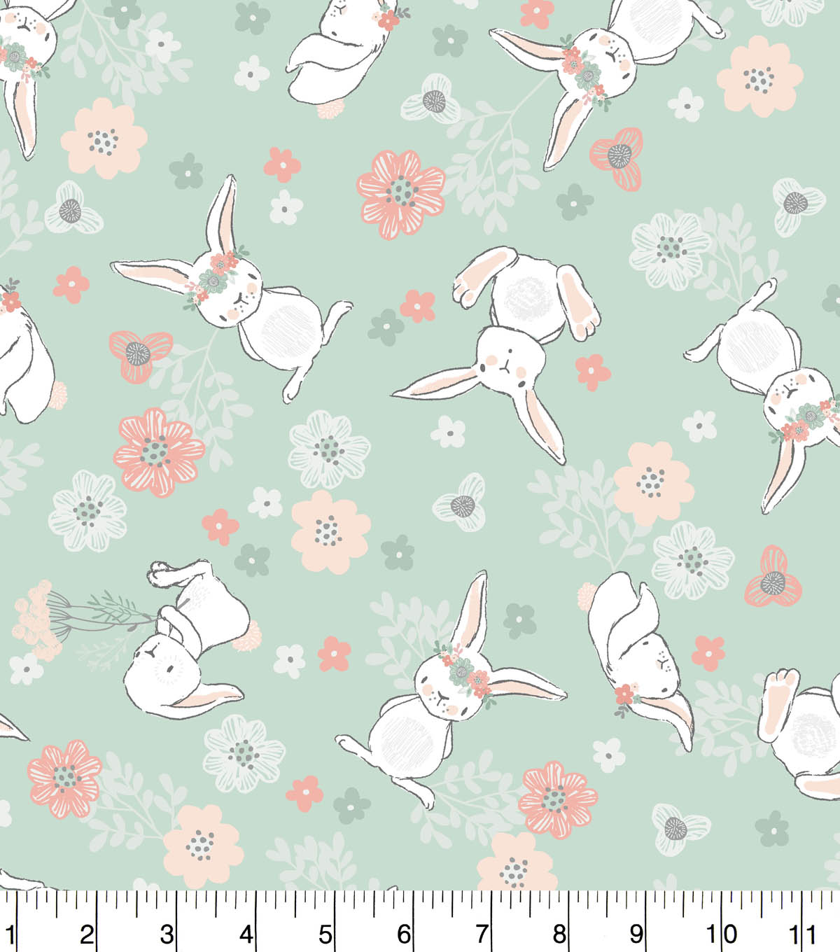 Nursery Flannel Fabric  Tossed Bunny