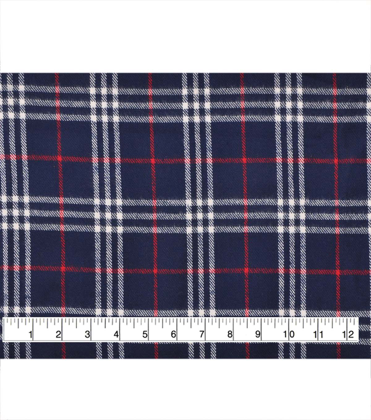 Plaiditudes Brushed Cotton Fabric -Classic Navy Red White