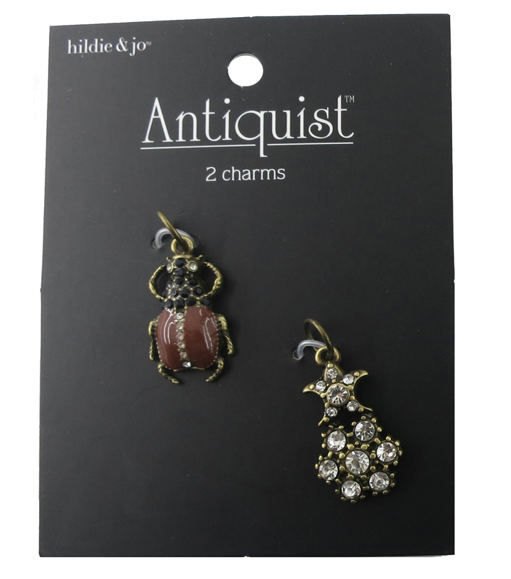hildie & jo Antiquist Bug & Star Antique Gold Charms-Crystals