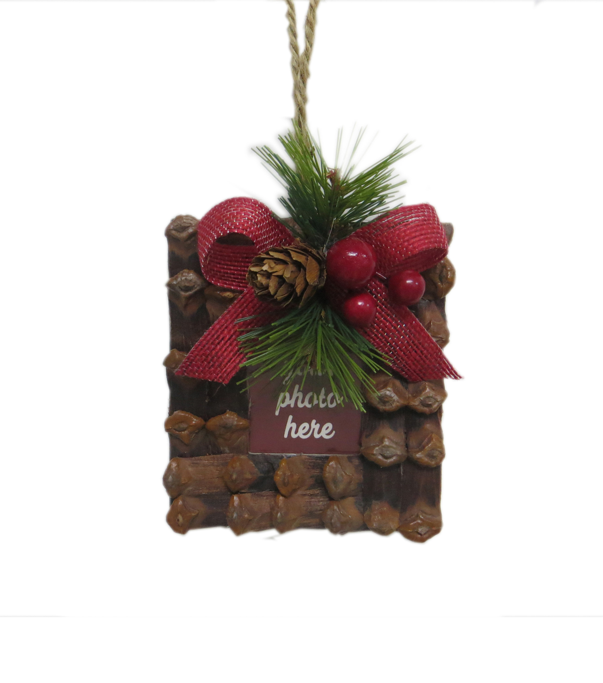 Maker\u0027s Holiday Woodland Lodge Photo Frame with Pinecone Ornament