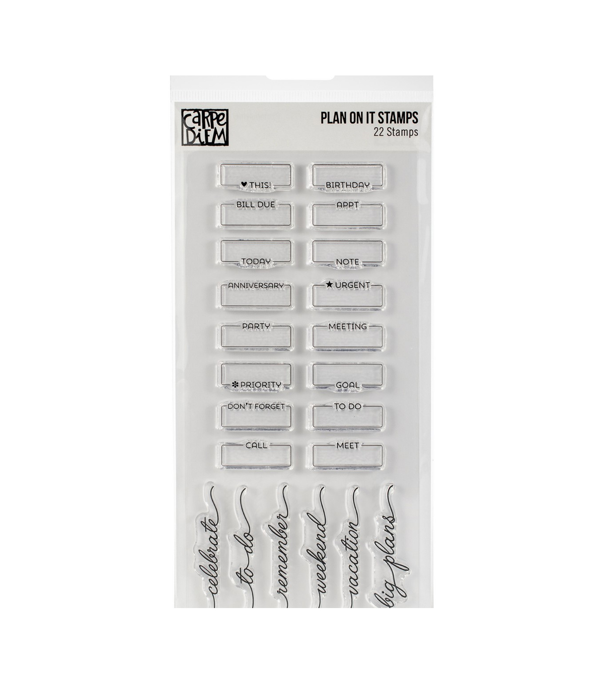 Simple Stories Carpe Diem 22 pk Photopolymer Clear Stamps-Plan on It