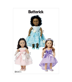 Butterick Pattern B6431 Dresses, Bag, Gloves & Headpiece for 18\u0027\u0027 Doll