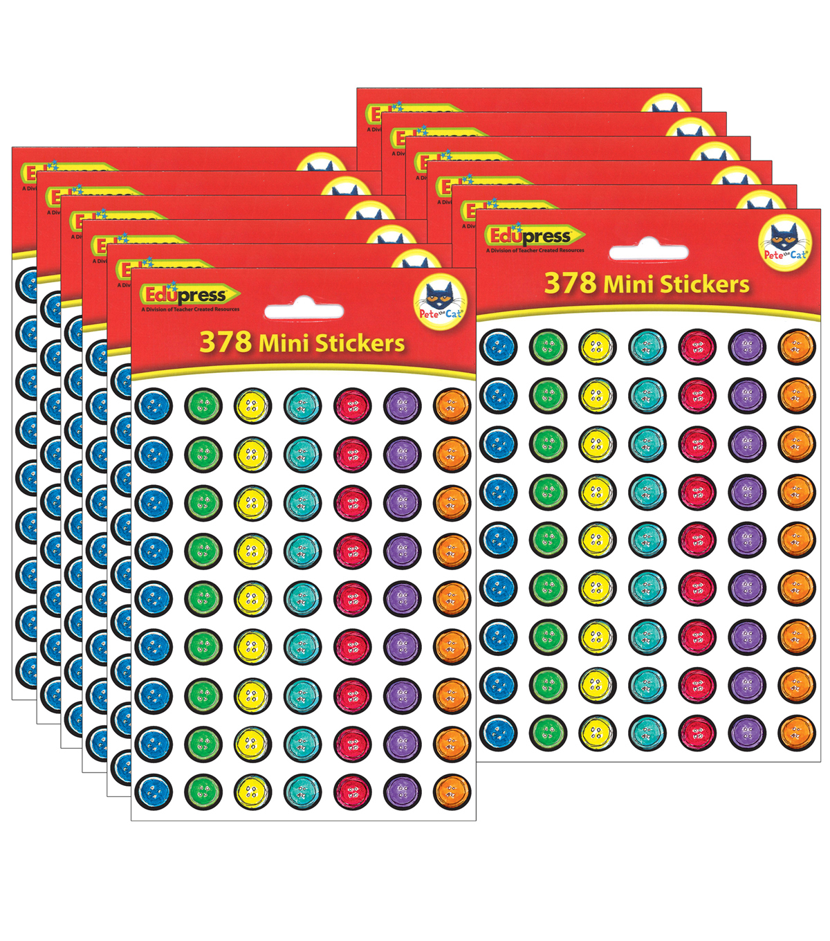 Pete the Cat Groovy Buttons Mini Stickers 12 Packs