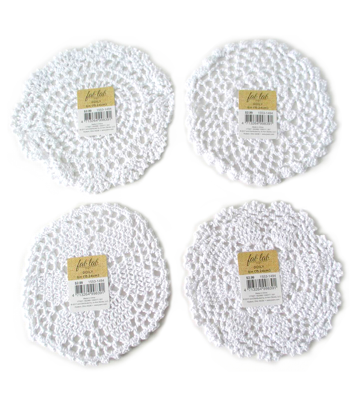 Doily 6in White 1pc