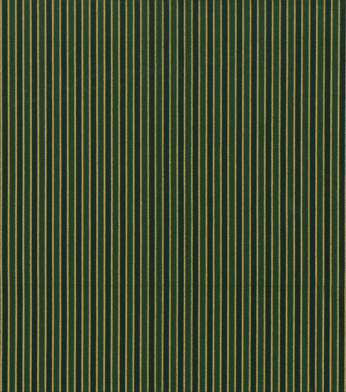 Holiday Cotton Fabric -Metallic Gold Stripe on Green