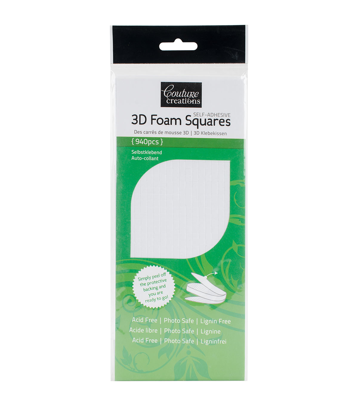 Couture Creations 940 pk 0.19\u0027\u0027 3D Foam Squares-White