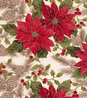 Christmas Cotton Fabric 43\u0022-Large Poinsettias