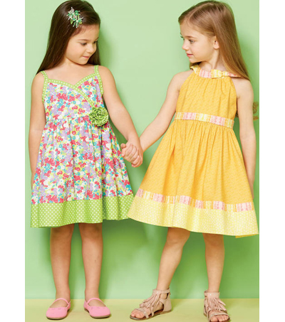 Kwik Sew Pattern K0232 Girls Lined Dresses With Bands Size Xxs Xs