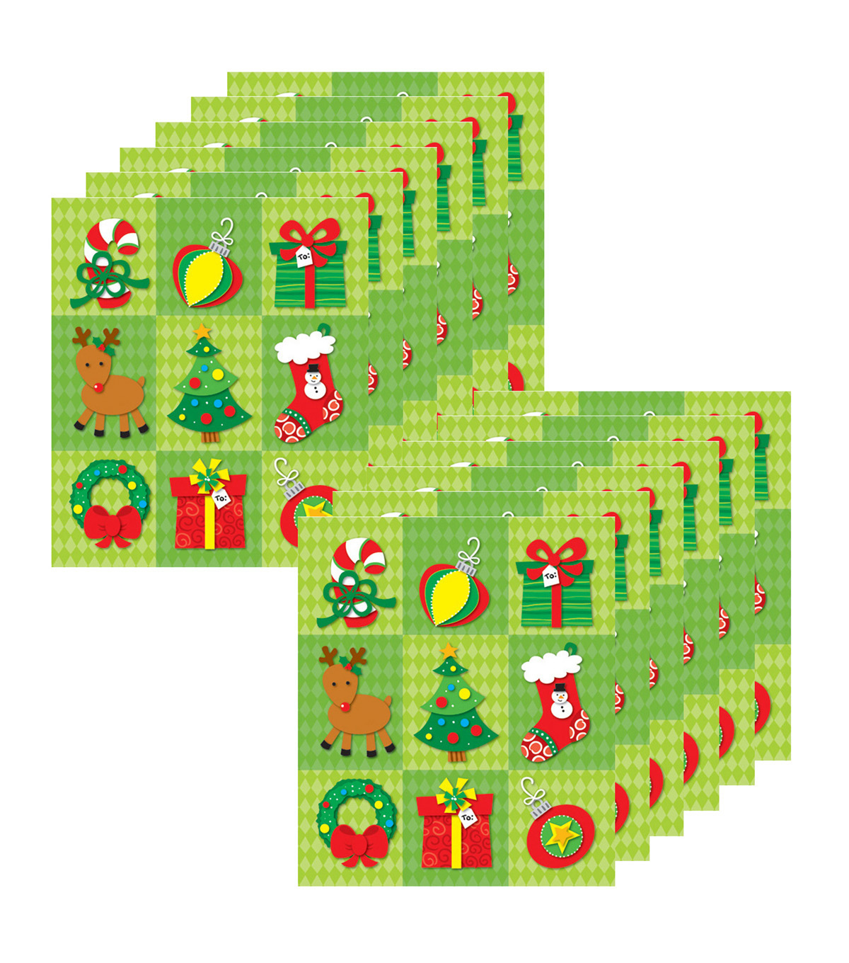 Carson Dellosa Christmas Prize Pack Stickers, 216 Per Pack, 12 Packs