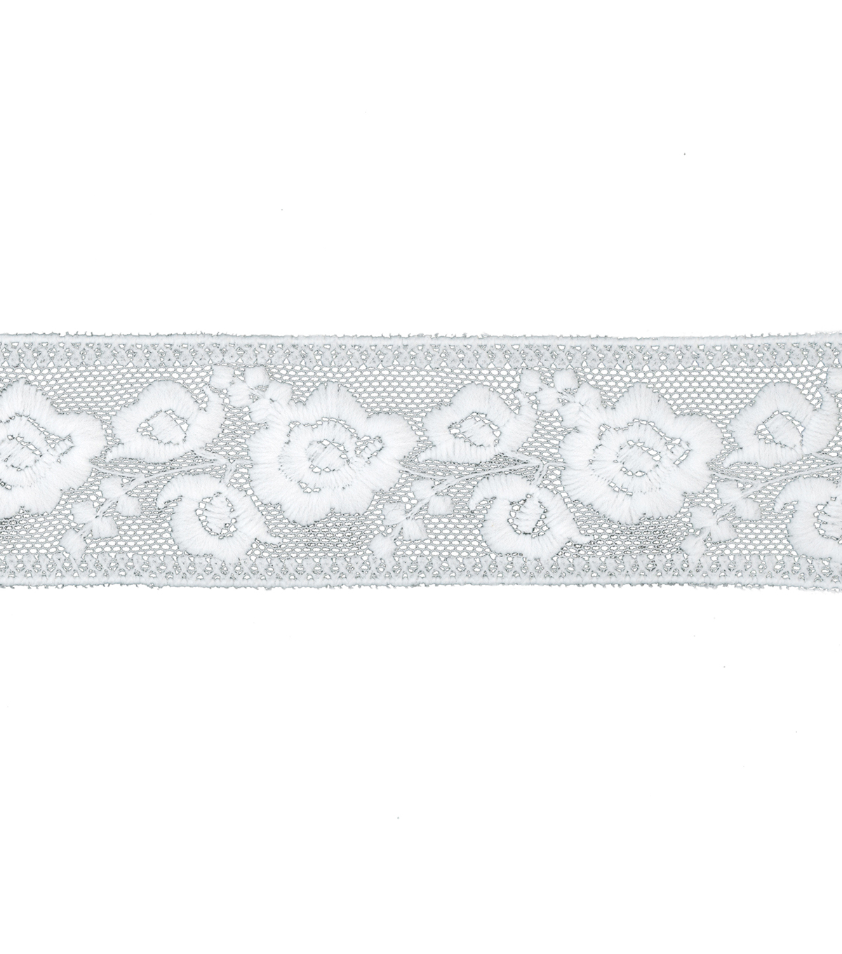 Simplicity Embroidered Mesh Trim 1.75\u0027\u0027-White Rose