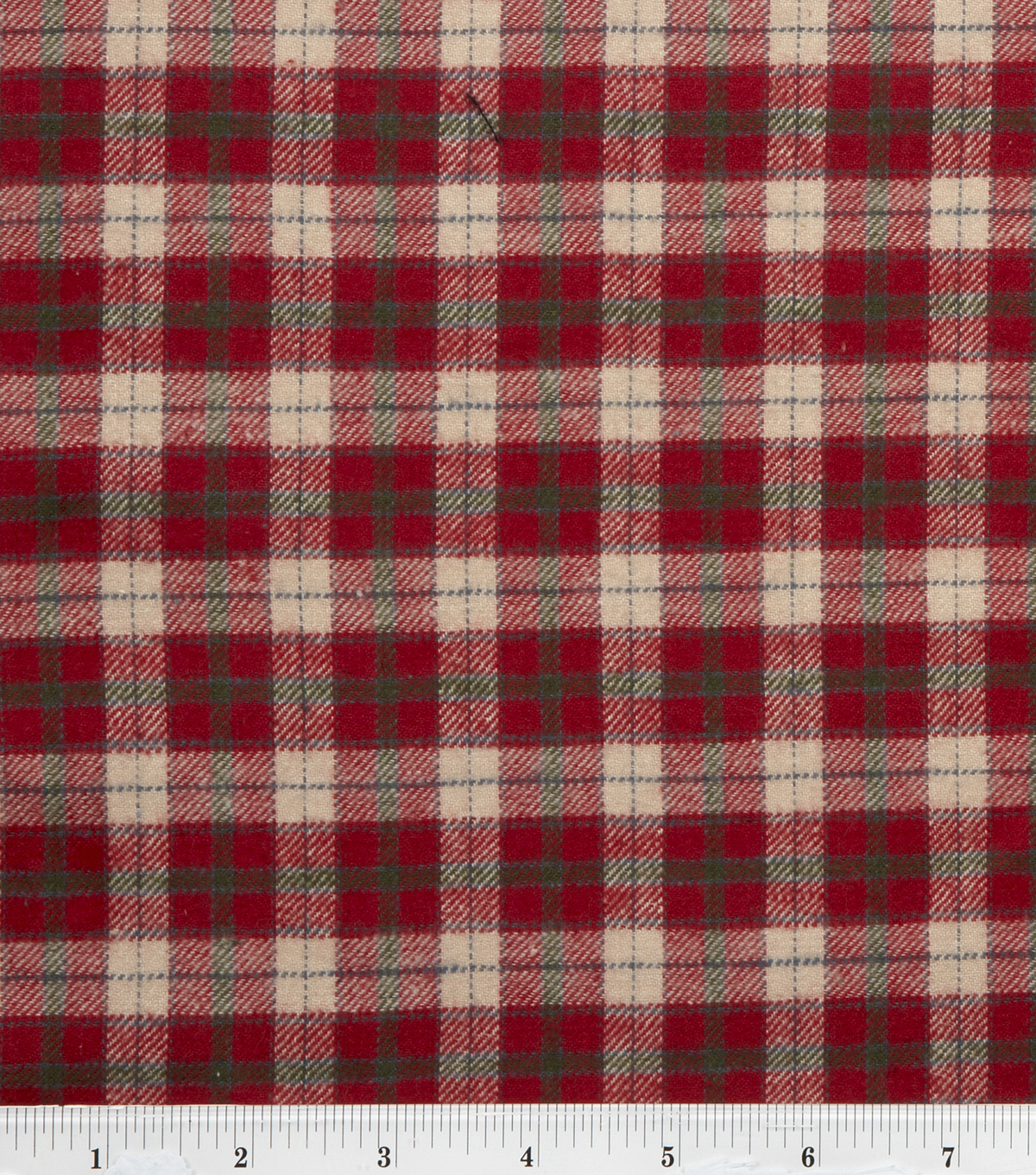 Fashion Flannel Shirting Fabric -Red & Beige Classic Check
