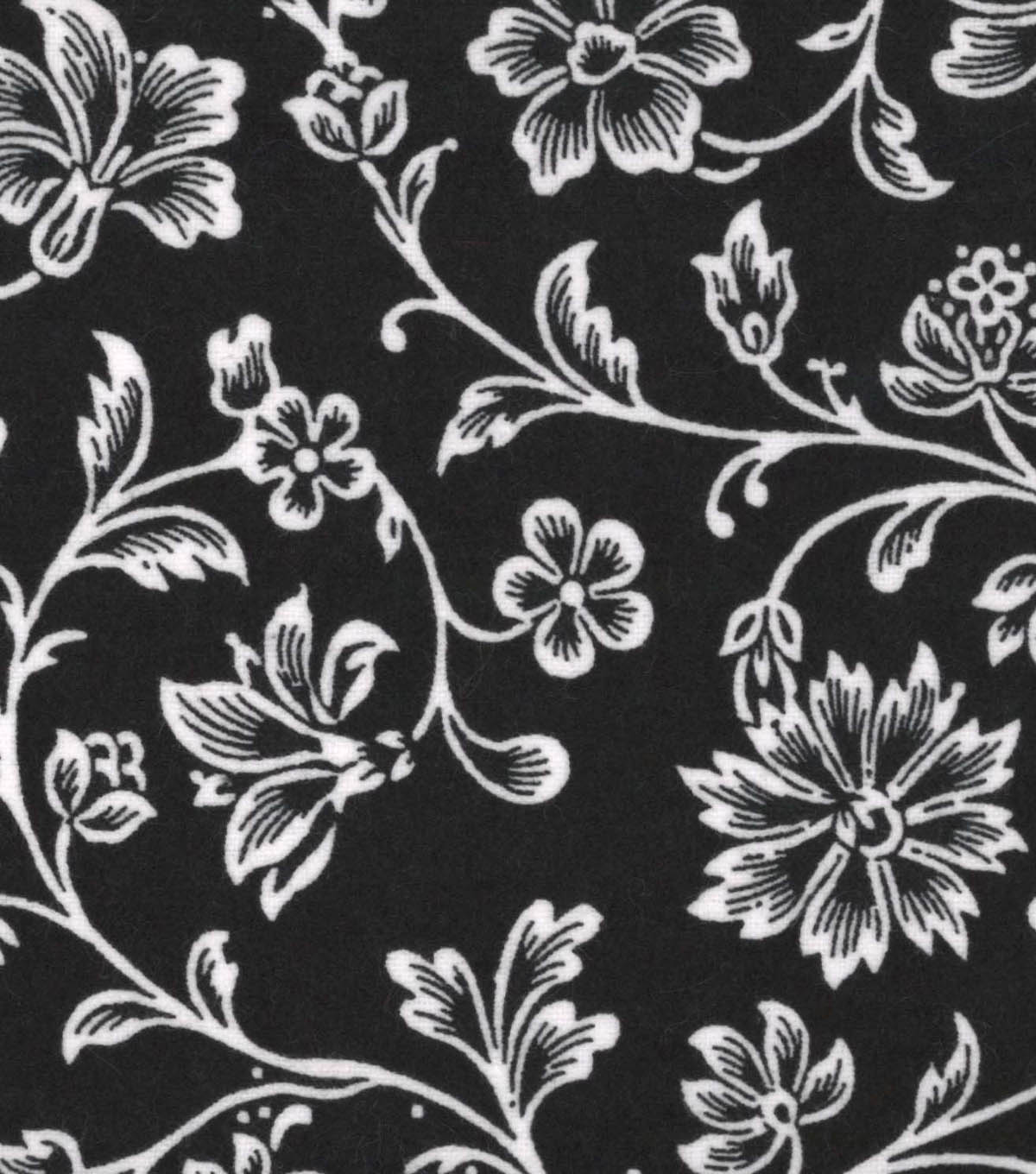 Snuggle Flannel Fabric -Black Floral Vines