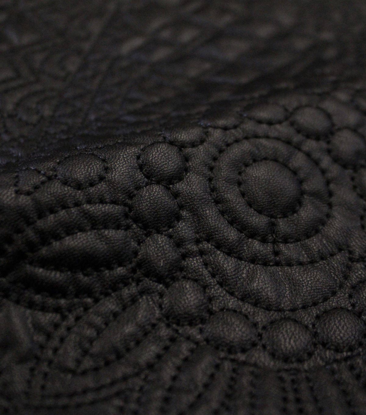 Downtown Collective Quilted Pleather Fabric 56\u0022-Boho Black