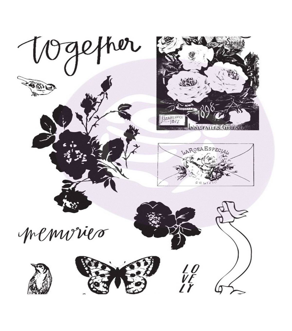 Lavender Frost Cling Rubber Stamps & Stencil
